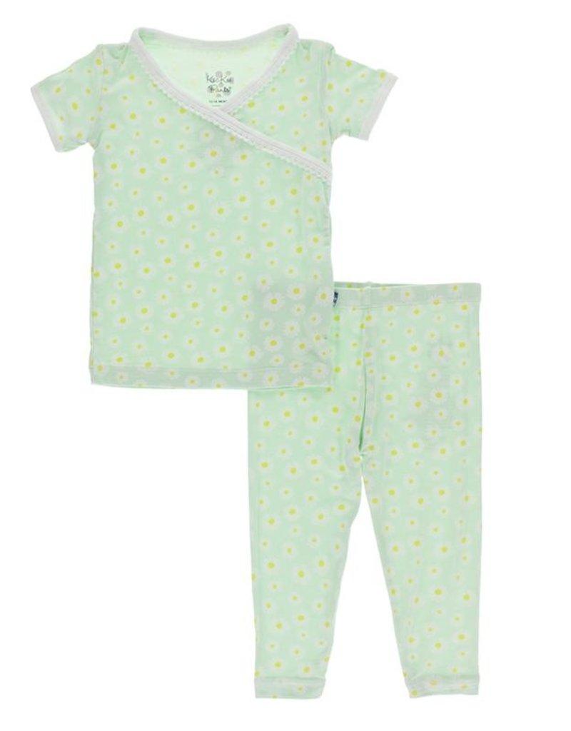 Kickee Pants Print S/S Scallop Kimono PJ Set Pistachio Chamomile