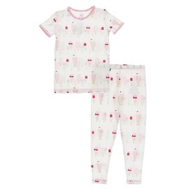 Kickee Pants S/S PJ Set Natural Ice Cream Shop 2T-8