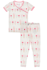 Kickee Pants Print S/S Kimono PJ Set Natural Ice Cream Shop