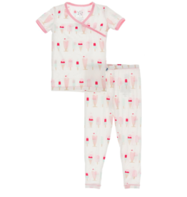 Kickee Pants S/S Kimono PJ Set Natural Ice Cream Shop 2T-8