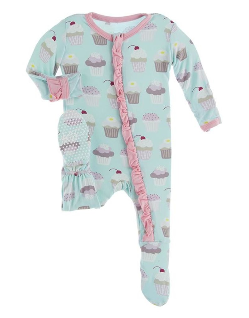 Kickee Pants Print Muffin Ruffle Footie Summer Sky Cupcakes