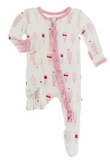 Kickee Pants Print Muffin Ruffle Footie Natural Ice Cream Shop