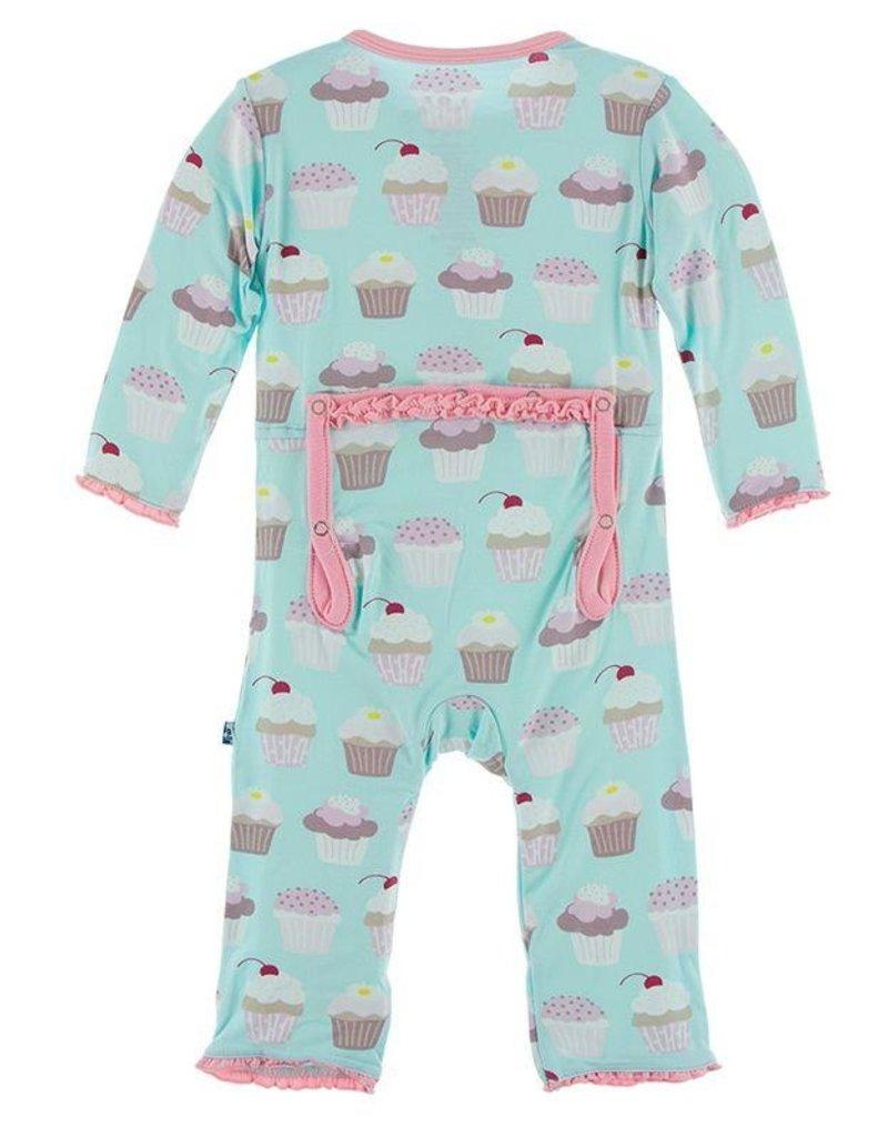 Kickee Pants Print Muffin Ruffle Coverall Summer Sky Cupcakes