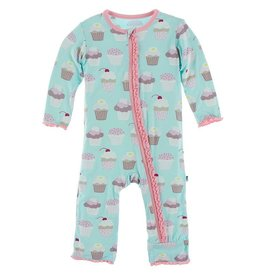 Kickee Pants Muffin Ruffle Coverall Summer Sky Cupcakes 9/12M-18/24M