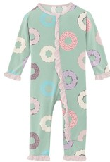 Kickee Pants Print Muffin Ruffle Coverall Pistachio Donuts