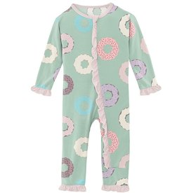 Kickee Pants Muffin Ruffle Coverall Pistachio Donuts