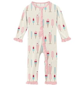 Kickee Pants Muffin Ruffle Coverall Natural Ice Cream Shop 9/12M-18/24M
