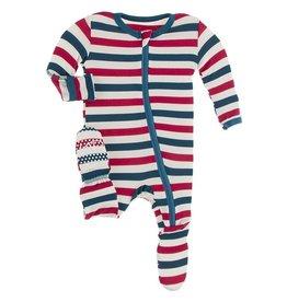 Kickee Pants Footie w/Zip USA Stripe