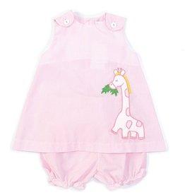 Zubels Pink Gingham Dress Set w/Giraffe Applique