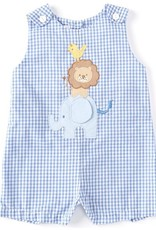 Zubels Blue Gingham Shortall w/Animal Applique