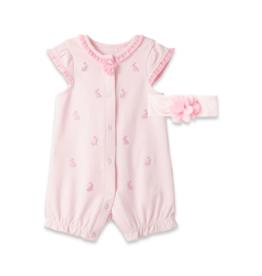 Little Me Bunny Pink Romper w/Headband