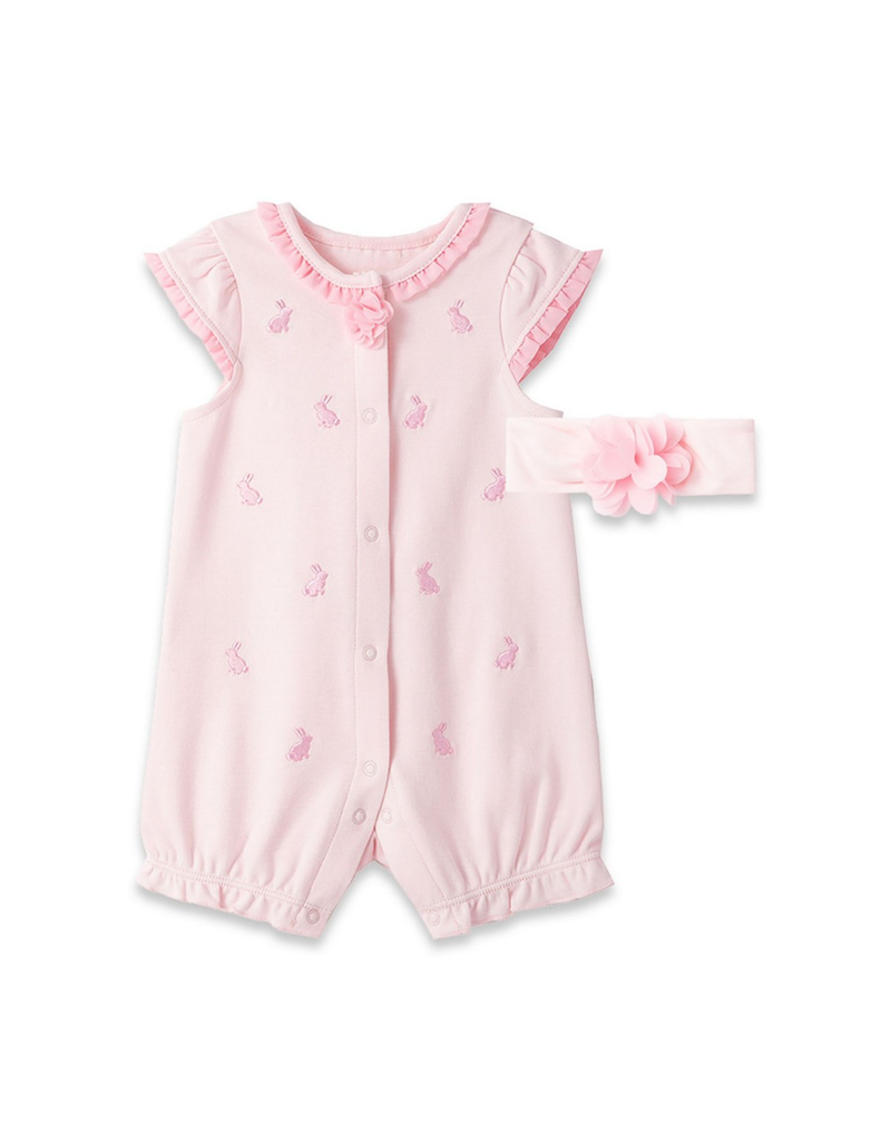 Little Me Bunny Pink Romper w/Headband