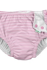 I Play Snap Reusable Swimsuit Diaper Lt Pink Pinstripe
