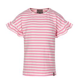 Creamie S/S Ruffle Sleeve Tee Pink Stripe 7-14