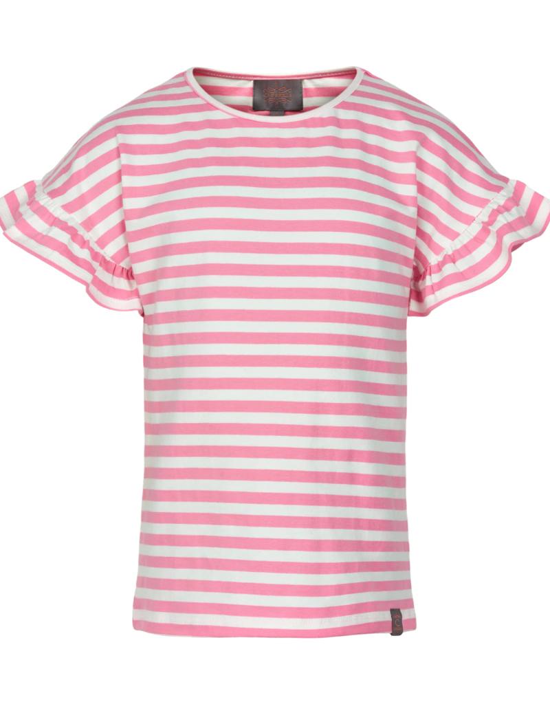 Creamie S/S Ruffle Sleeve Tee Pink Stripe