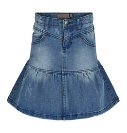 Creamie Lt Blue Flared Denim Skirt 7, 14