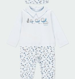 Boboli 3 pc Tee Pant Set Blue Snail Print NB