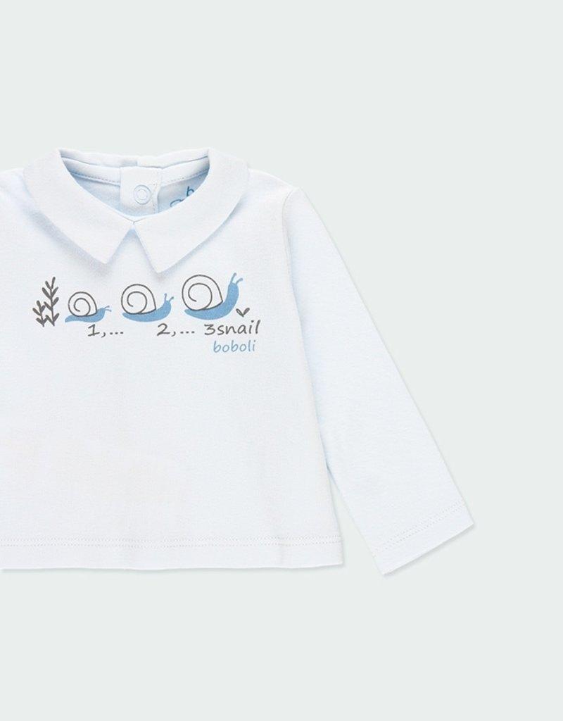 Boboli 3 pc Tee Pant Set Blue Snail Print