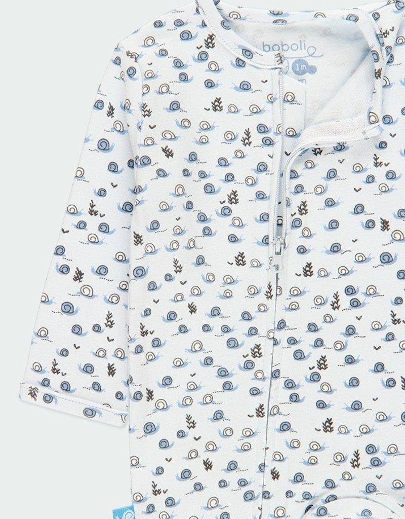 Boboli Blue Snail Print Footie