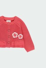 Boboli Raspberry Cardigan w/Flower