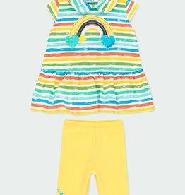 Boboli Striped Tunic w/Yellow Leggings