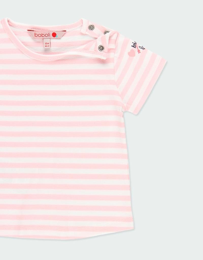 Boboli Pink S/S Striped Tee