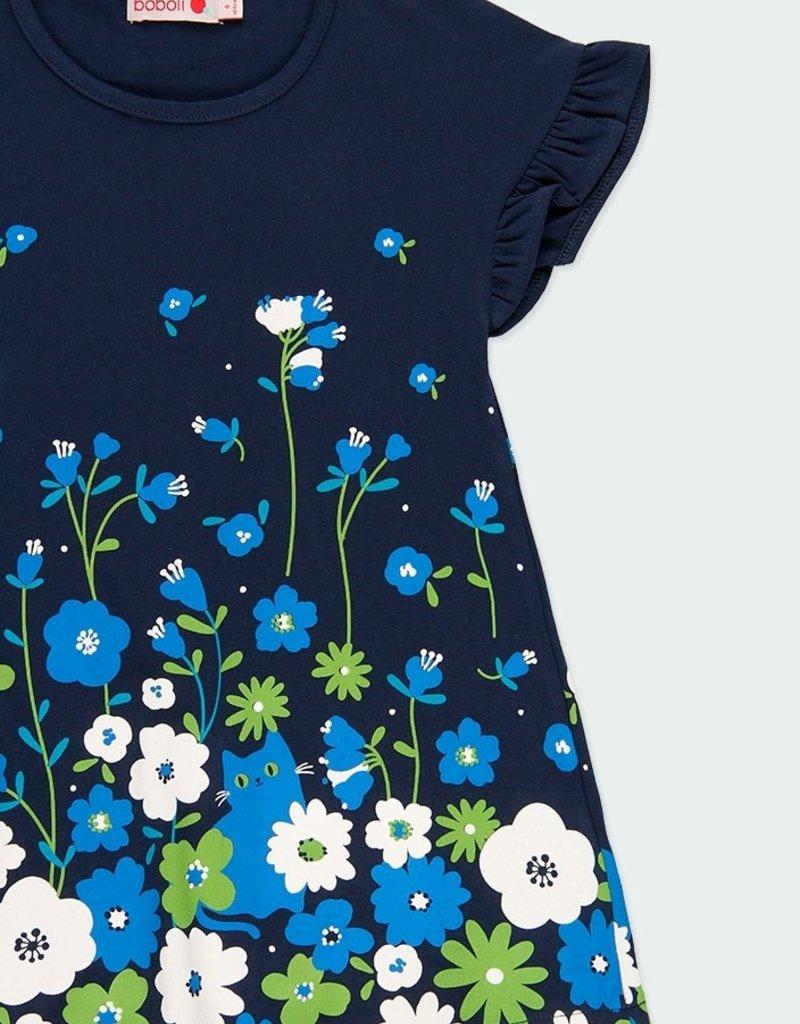 Boboli Navy Dress w/Floral Accents