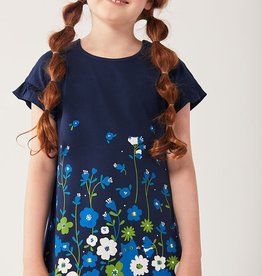 Boboli Navy Dress w/Floral Accents 4-10