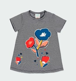 Boboli Mini Stripe w/Flower Dress w/Bloomers