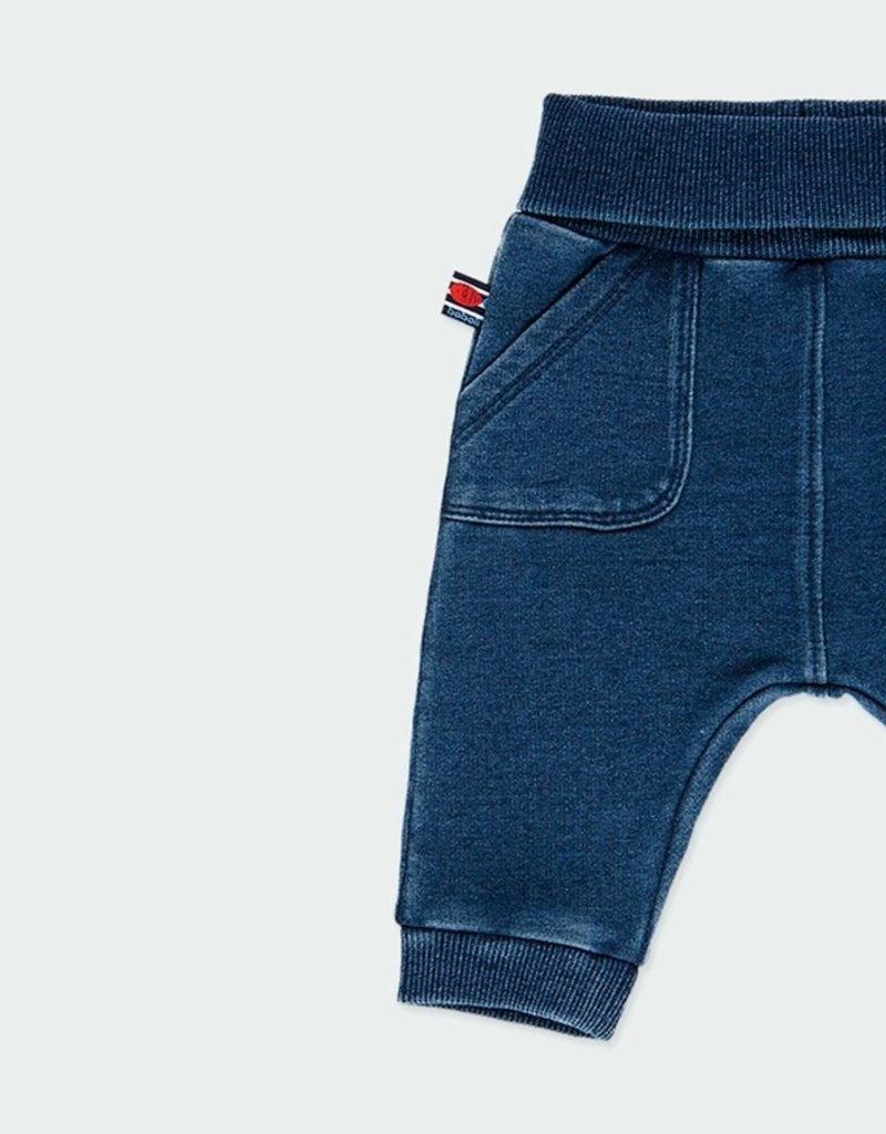 Boboli Blue Fleece Denim Pants