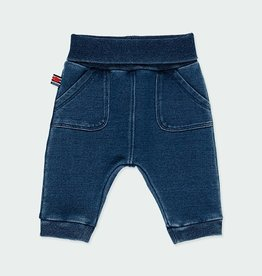 Boboli Blue Fleece Denim Pants 3M-12M