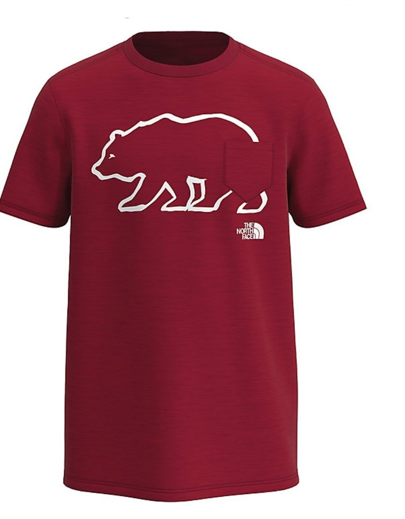 North Face Boys S/S Bear Tri Blend Tee Red