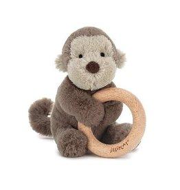 Jellycat Bashful Monkey Wooden Ring Rattle