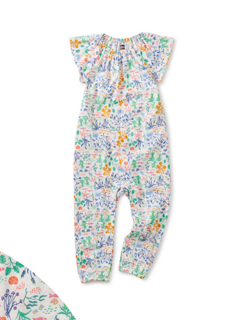 Tea Collection Flutter Sleeve Baby Romper Azores Island