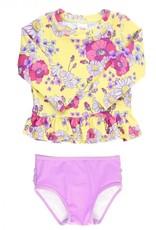 Ruffle Butts Daisy Delight L/S Rash Guard Bikini