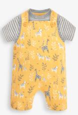 JoJo Maman BeBe Giraffe Zebra Print Dungarees Set