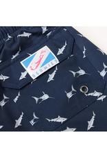 Bermies Sharks Navy Swim Trunks