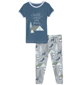 Kickee Pants S/S Graphic Tee Pj Set Pearl Blue Wilderness