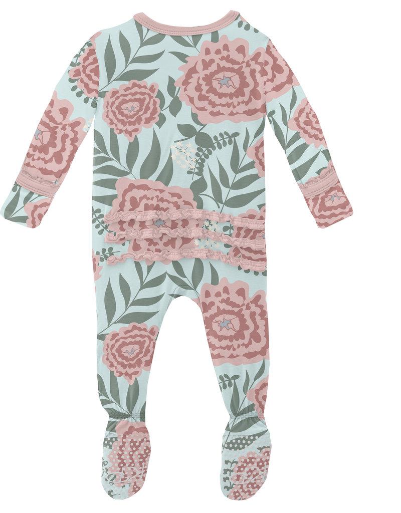 Kickee Pants Print Muffin Ruffle Footie w/Zip Fresh Air Florist