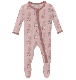 Kickee Pants Print Muffin Ruffle Footie w/Zip Baby Rose Ballet