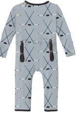 Kickee Pants Print Coverall w/Zip Pearl Blue Hockey