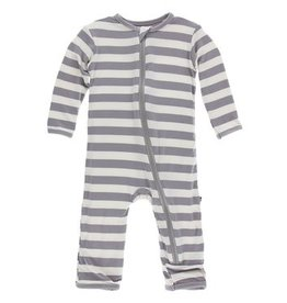 Kickee Pants Print Coverall w/Zip Feather Contrast Stripe