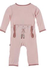 Kickee Pants Applique Coverall w/Zip Baby Rose Ballet