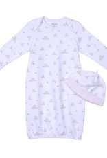 Little Me Baby Bunnies Gown w/Hat 0/3M
