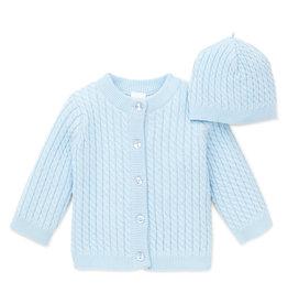 Little Me Huggable Cable Sweater w/Hat Lt Blue