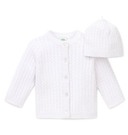 Little Me Lovable Cable Sweater w/Hat White