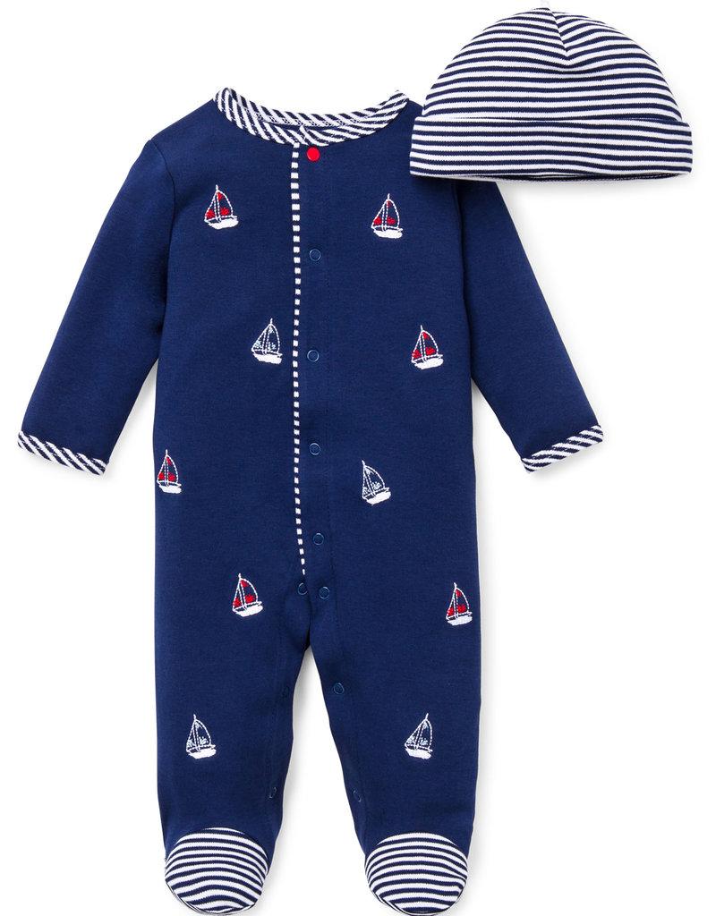 Little Me Sailboats Footie w/Hat
