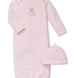 Little Me Sweet Bear Gown w/Hat 0/3M