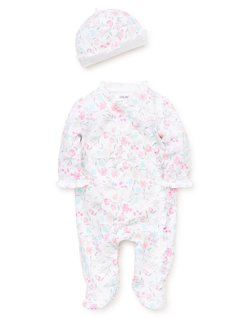 Little Me Watercolor Footie w/Hat Pink