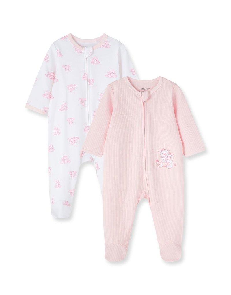 Little Me Wispy Bears 2pk Footie Pink